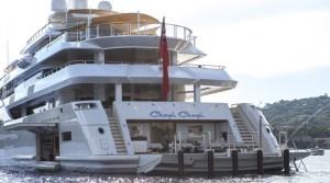 Luxury yacht CHOPI CHOPI - view of beach club and port side garage